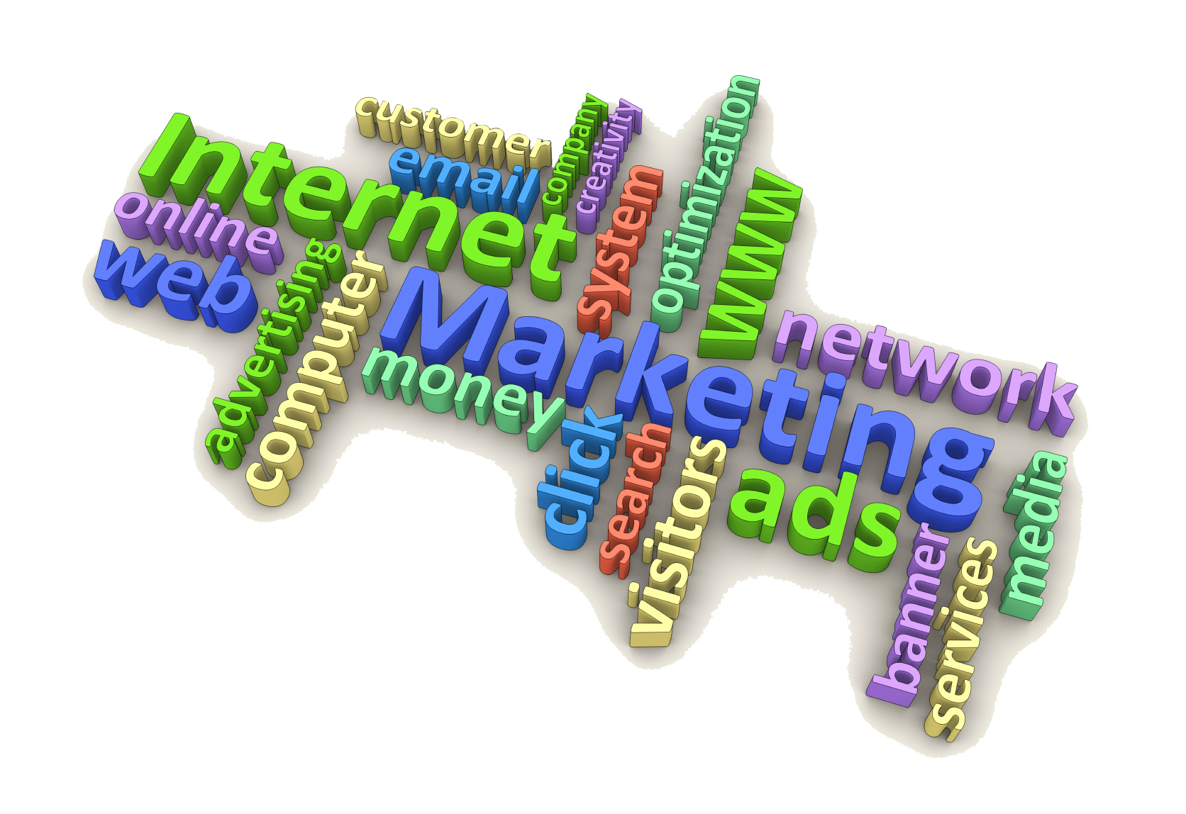 Internet marketing collage of words