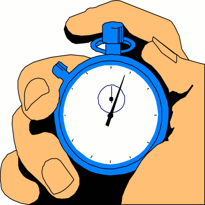 Man's hand holding a stopwatch