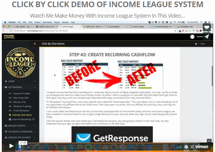 Screenshot of click by click demo video