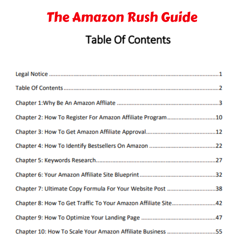 Amazon Rush table of contents