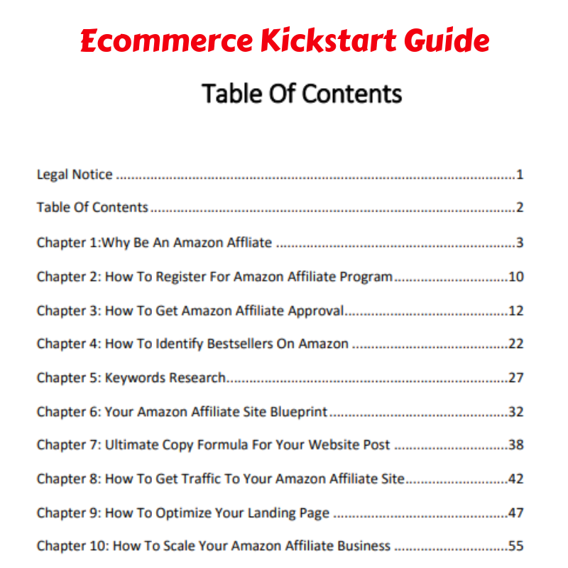 Ecommerce Kickstart guide table of contents