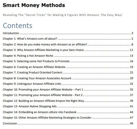 Smart Money Methods Table of Contents