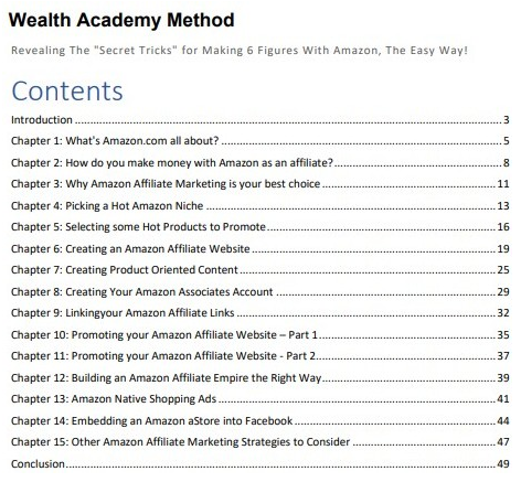 Wealthy Academy Table of Contents