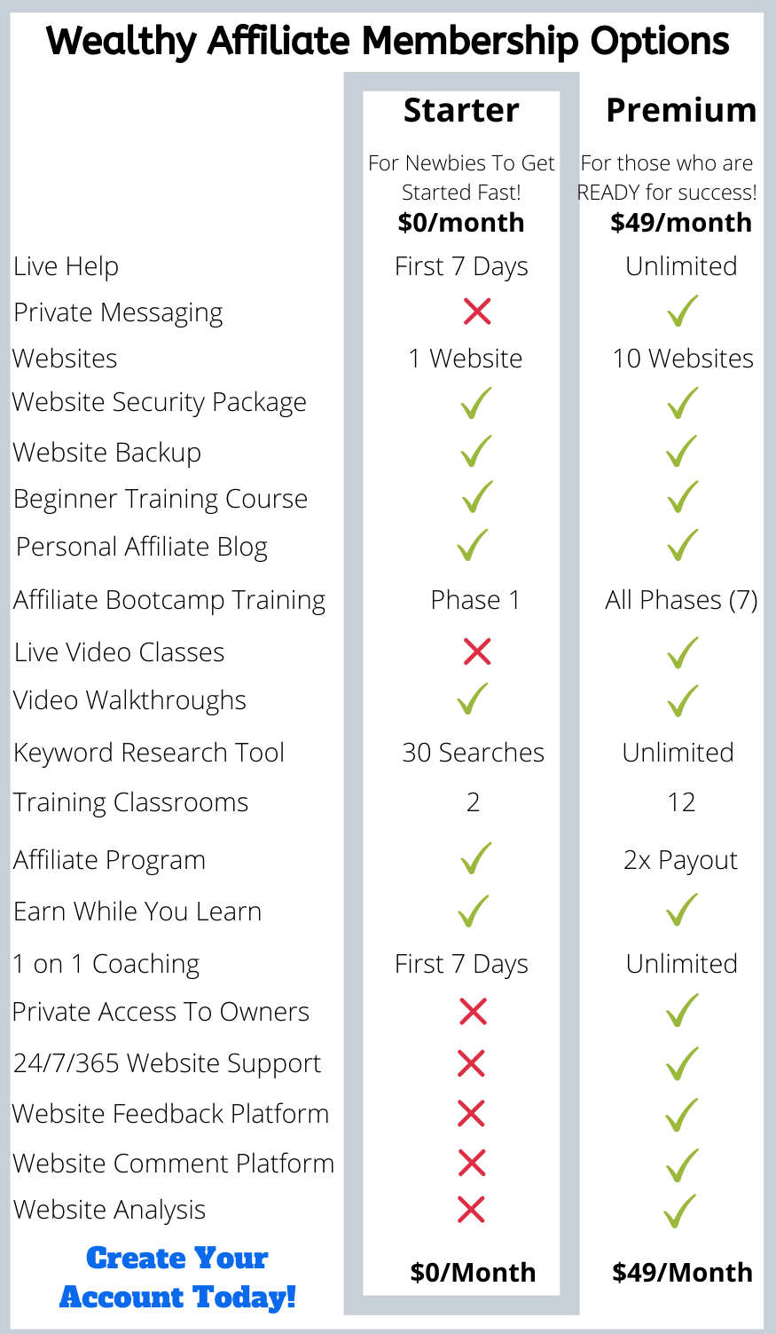 Infographic showing Wealthy Affiliate Membership Options
