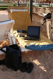Work on laptop at beach